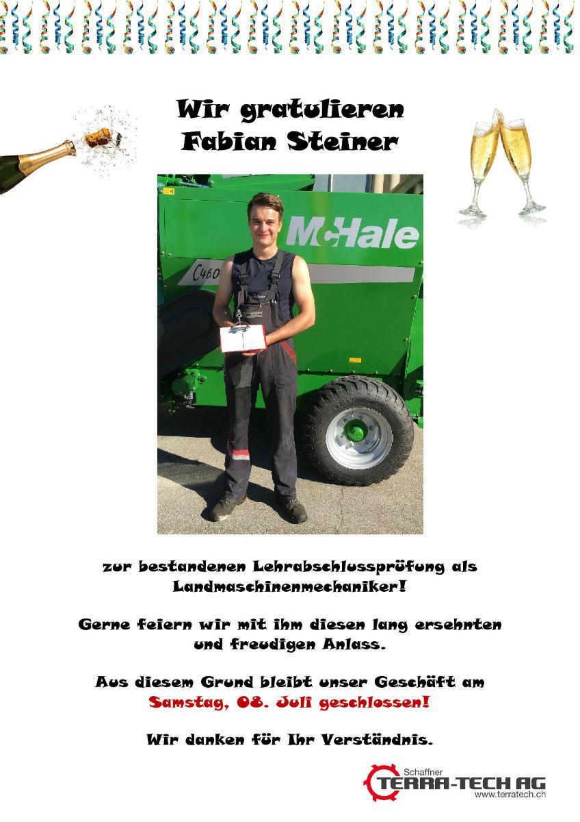Gratulation Fabian Steiner